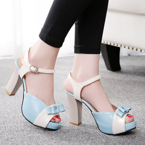 PU Peep-toe Mixed Color Bowtie High Block Heel Ankle Strap Sandals 8.5 Light blue