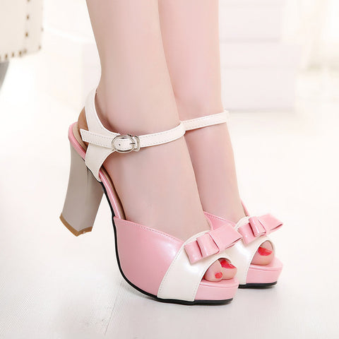 PU Peep-toe Mixed Color Bowtie High Block Heel Ankle Strap Sandals 9 Pink