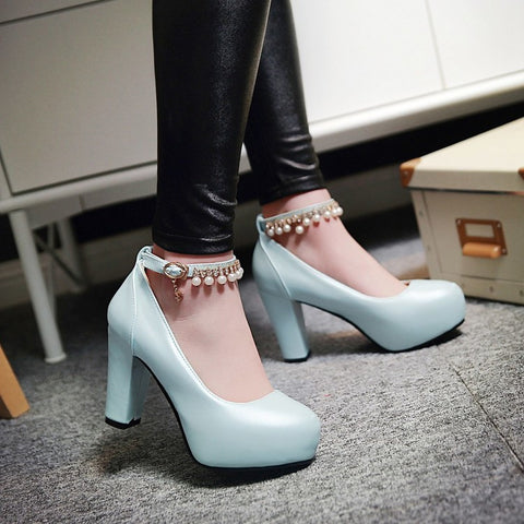 PU Round Toe Pure Color Beads High Block Heel Ankle Strap Pumps 9 Light blue