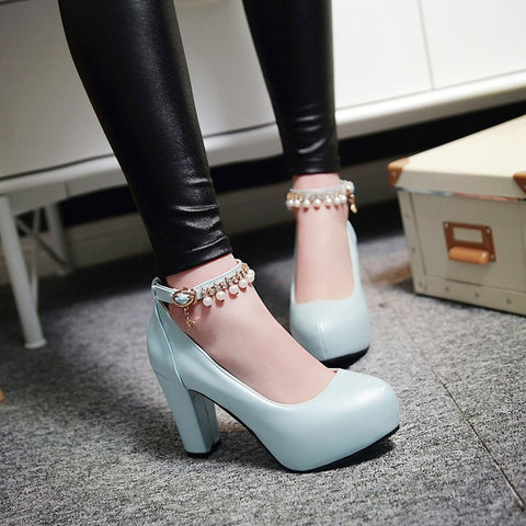 PU Round Toe Pure Color Beads High Block Heel Ankle Strap Pumps 9.5 Light blue