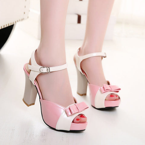 PU Peep-toe Mixed Color Bowtie High Block Heel Ankle Strap Sandals 8.5 Pink