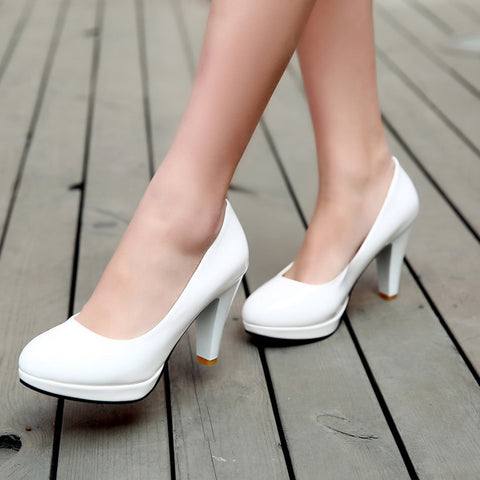 Patent Leather Candy Color Round Toe Low-cut High Block Heel Pumps 9.5 White