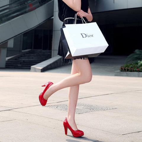 Patent Leather Candy Color Round Toe Low-cut High Block Heel Pumps 9 Red