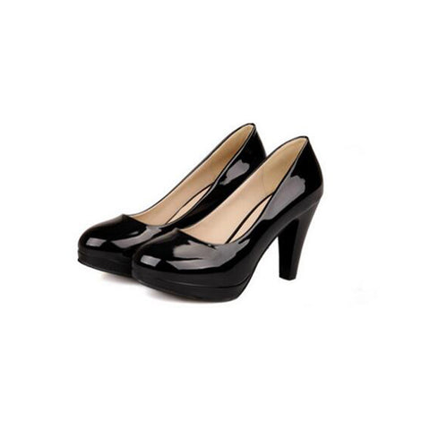 Patent Leather Candy Color Round Toe Low-cut High Block Heel Pumps 9.5 Black