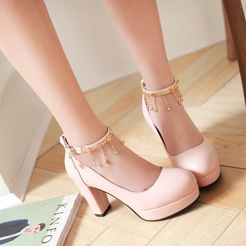 PU Candy Color Round Toe High Block Heel Ankle Strap Pumps 8.5 Pink