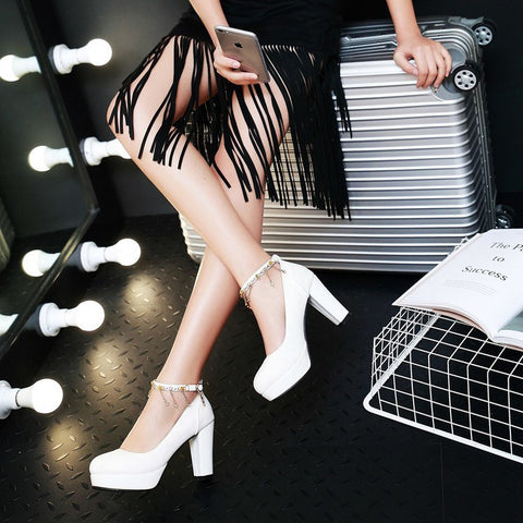 PU Candy Color Round Toe High Block Heel Ankle Strap Pumps 9.5 White
