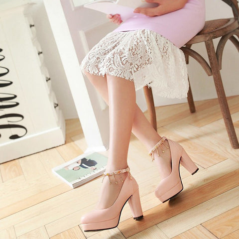 PU Candy Color Round Toe High Block Heel Ankle Strap Pumps 9.5 Pink