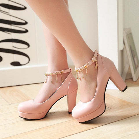 PU Candy Color Round Toe High Block Heel Ankle Strap Pumps 9 Pink