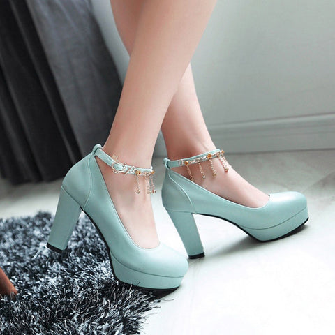PU Candy Color Round Toe High Block Heel Ankle Strap Pumps 8.5 Light blue