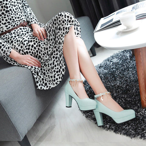 PU Candy Color Round Toe High Block Heel Ankle Strap Pumps 9.5 Light blue