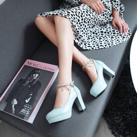 PU Candy Color Round Toe High Block Heel Ankle Strap Pumps 9 Light blue