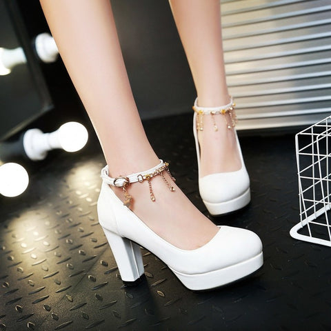 PU Candy Color Round Toe High Block Heel Ankle Strap Pumps 8.5 White