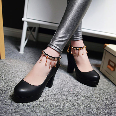 PU Candy Color Round Toe High Block Heel Ankle Strap Pumps 9 Black
