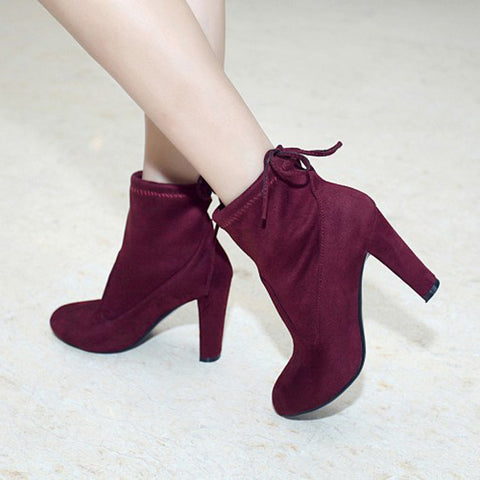 Suede Round Toe Pure Color Back Strap High Block Heel Ankle Boots 8.5 Dark red