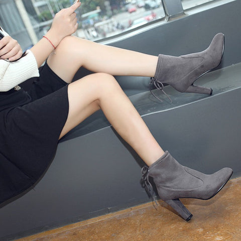 Suede Round Toe Pure Color Back Strap High Block Heel Ankle Boots 9 Dim gray
