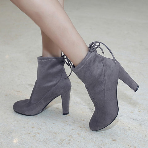 Suede Round Toe Pure Color Back Strap High Block Heel Ankle Boots 8.5 Dim gray