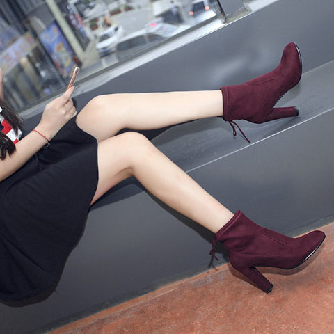 Suede Round Toe Pure Color Back Strap High Block Heel Ankle Boots 9 Dark red