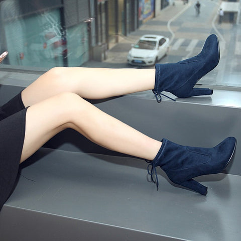 Suede Round Toe Pure Color Back Strap High Block Heel Ankle Boots 9 Dark blue