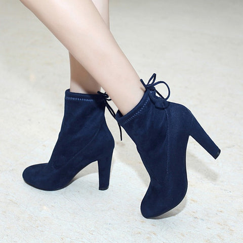 Suede Round Toe Pure Color Back Strap High Block Heel Ankle Boots 8.5 Dark blue