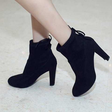 Suede Round Toe Pure Color Back Strap High Block Heel Ankle Boots 8.5 Black