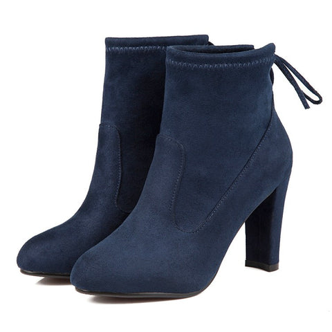 Suede Round Toe Pure Color Back Strap High Block Heel Ankle Boots 9.5 Dark blue