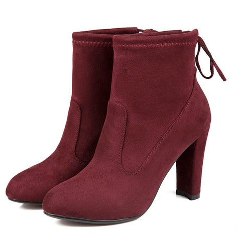 Suede Round Toe Pure Color Back Strap High Block Heel Ankle Boots 9.5 Dark red