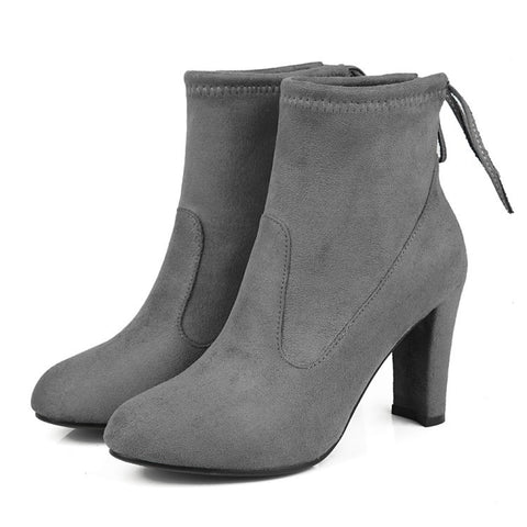 Suede Round Toe Pure Color Back Strap High Block Heel Ankle Boots 9.5 Dim gray