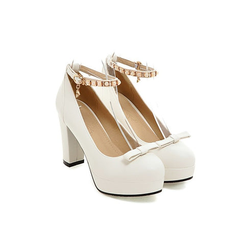 PU Round Toe Pure Color Buckle High Block Heel Ankle Strap Pumps 9.5 White
