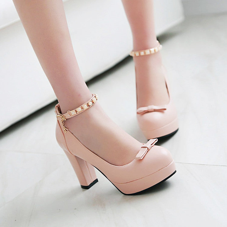 PU Round Toe Pure Color Buckle High Block Heel Ankle Strap Pumps 9.5 Pink