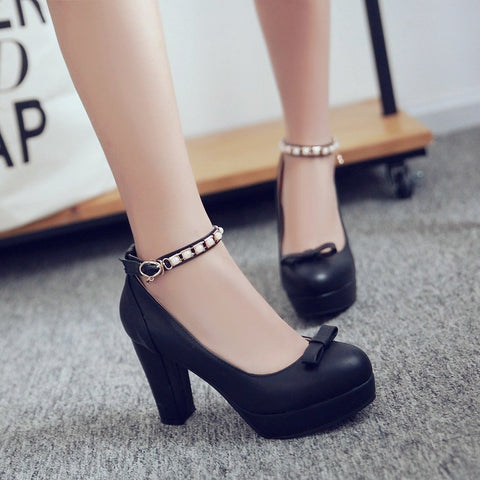 PU Round Toe Pure Color Buckle High Block Heel Ankle Strap Pumps 9.5 Black