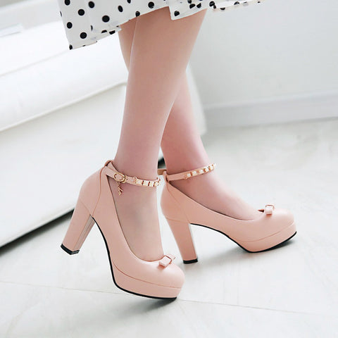 PU Round Toe Pure Color Buckle High Block Heel Ankle Strap Pumps 9 Pink