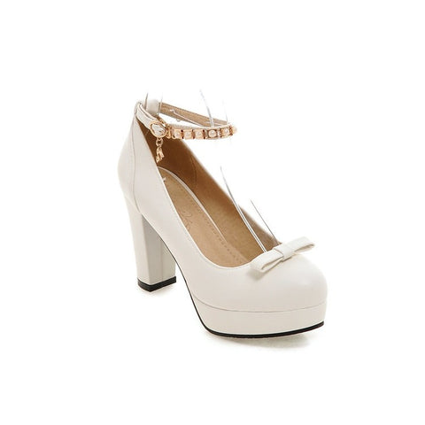 PU Round Toe Pure Color Buckle High Block Heel Ankle Strap Pumps 9 White
