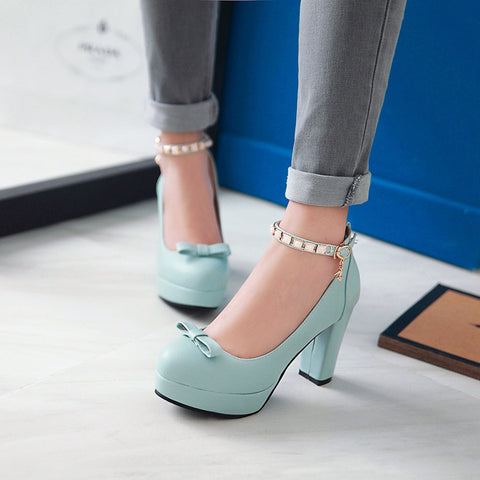 PU Round Toe Pure Color Buckle High Block Heel Ankle Strap Pumps 9.5 Light blue
