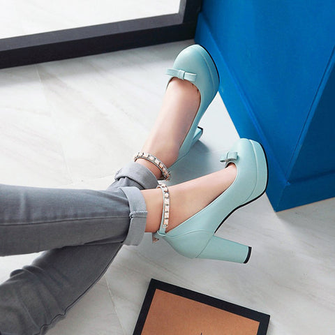 PU Round Toe Pure Color Buckle High Block Heel Ankle Strap Pumps 9 Light blue