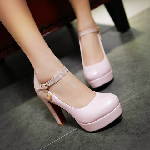 PU Mixed Color Round Toe High Block Heel Ankle Strap Pumps 8.5 Pink