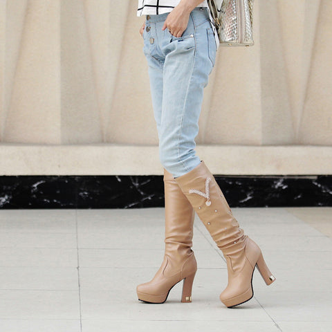 PU Pure Color Round Toe Crystal High Block Heel Knee High Boots 8.5 Camel