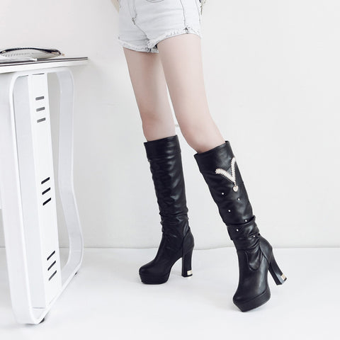 PU Pure Color Round Toe Crystal High Block Heel Knee High Boots 9.5 Black