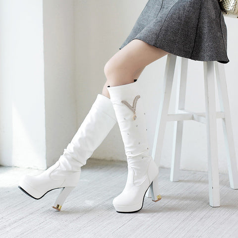 PU Pure Color Round Toe Crystal High Block Heel Knee High Boots 9 White