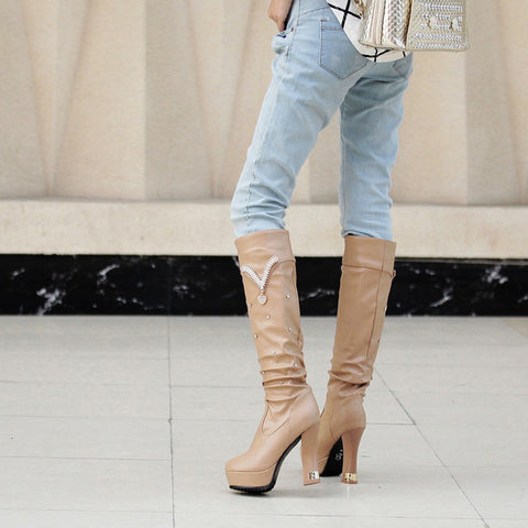 PU Pure Color Round Toe Crystal High Block Heel Knee High Boots 9.5 Camel