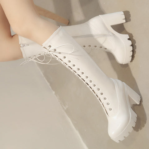 PU Pure Color Round Toe High Block Heel Lace Up Knee High Boots 7.5 White