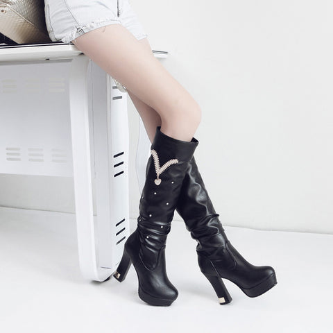 PU Pure Color Round Toe Crystal High Block Heel Knee High Boots 8.5 Black