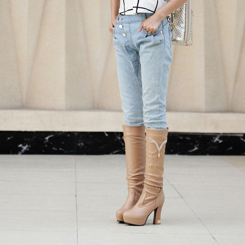 PU Pure Color Round Toe Crystal High Block Heel Knee High Boots 9 Camel