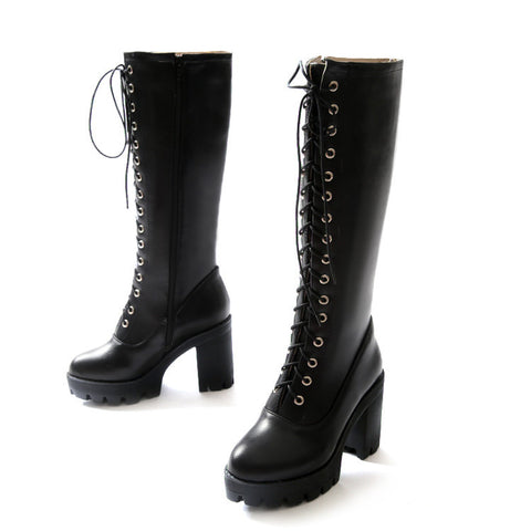 PU Pure Color Round Toe High Block Heel Lace Up Knee High Boots 6.5 Black