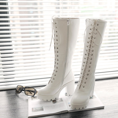 PU Pure Color Round Toe High Block Heel Lace Up Knee High Boots 6.5 White