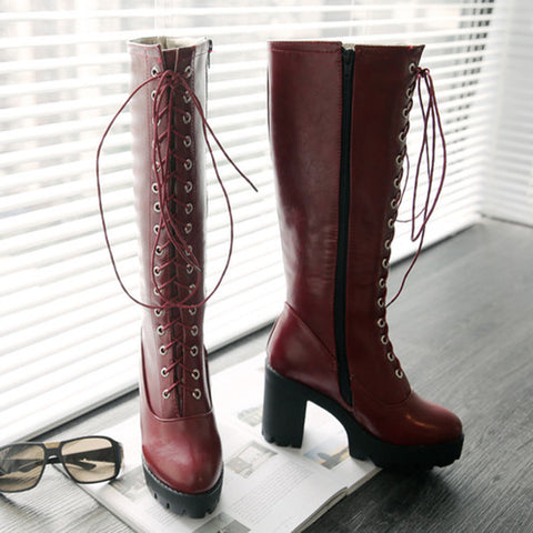 PU Pure Color Round Toe High Block Heel Lace Up Knee High Boots 6.5 Wine red
