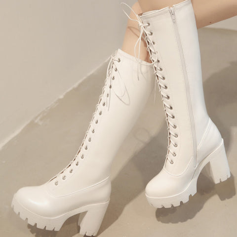 PU Pure Color Round Toe High Block Heel Lace Up Knee High Boots 7 White