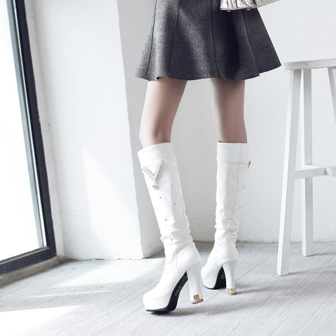 PU Pure Color Round Toe Crystal High Block Heel Knee High Boots 9.5 White