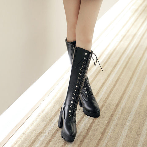PU Pure Color Round Toe High Block Heel Lace Up Knee High Boots 7.5 Black