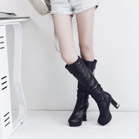 PU Pure Color Round Toe Crystal High Block Heel Knee High Boots 9 Black