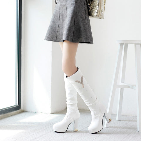 PU Pure Color Round Toe Crystal High Block Heel Knee High Boots 8.5 White